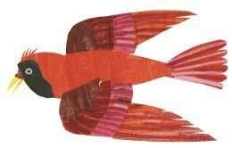 Tranh chim màu đỏ đang bay