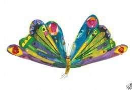 Tranh in con sâu bướm đang bay