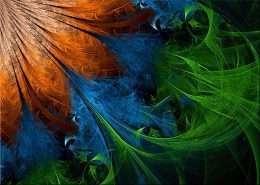 Tranh hoa truu tuong mau cam va xanh