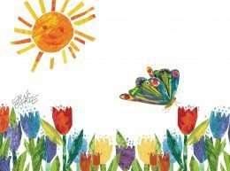 Tranh mặt trời hoa và bướm