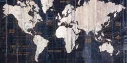 Tranh bản đồ thế giới trắng đen