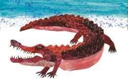 Tranh in cá sấu đang tìm mồi