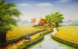Tranh cánh đồng hương lúa chín