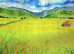 Tranh cánh đồng lúa ngát hương