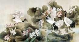 Tranh chim hạc bên hoa sen