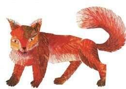 Tranh in chú cáo màu đỏ