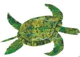 Tranh chú rùa biển màu xanh đang bơi