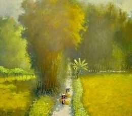 Tranh con đường làng quê