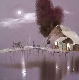 Tranh đêm trăng làng chài