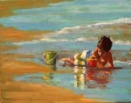 Tranh Đứa Trẻ Chơi Trên Biển