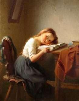 Tranh Em Gái Đọc Sách