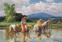 Tranh Gặt Lúa Sinh Động