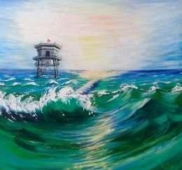 Tranh hải đăng giữa biển