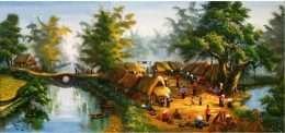 Tranh họp chợ ở vùng quê