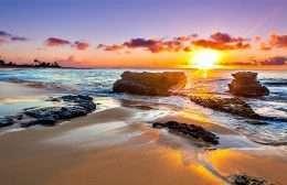 Tranh in nghệ thuật mặt trời mọc trên đại dương
