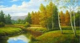 Tranh khu rừng hoàng hôn