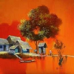 Tranh làng quê mùa nước nổi