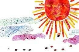 Tranh in mặt trời lớn và mây hồng