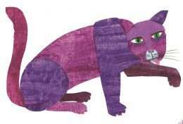 Tranh mèo nâu đang liếm chân