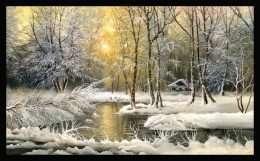 Tranh mùa đông bên khu rừng