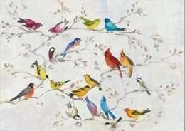 Tranh in với bầy chim đầy màu sắc