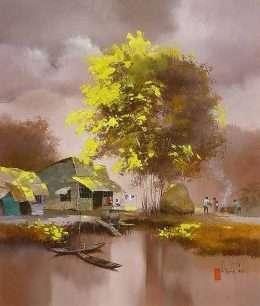 Tranh những ngôi nhà bên dòng sông