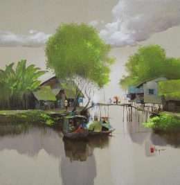Tranh những ngôi nhà ven sông