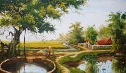 Tranh phong cảnh cây đa mái đình