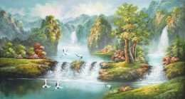 Tranh phong cảnh đàn hạt bên suối