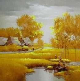 Tranh Phong Cảnh Đồng Lúa