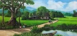 Tranh phong cảnh đồng quê lúc bình minh