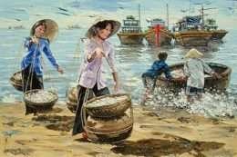 Tranh quang cảnh làng chài khi thuyền cặp bến