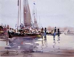 Tranh quang cảnh thuyền ngư dân ra khơi