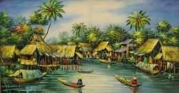 Tranh quê hương mùa nước nổi