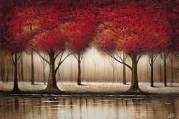 Tranh rừng cây với lá đỏ rực vào mùa thu