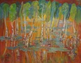Tranh rừng tràm mùa nước