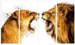 Bức tranh in chúa sơn lâm 3 mảnh