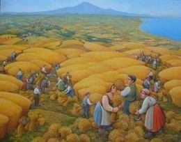 Tranh Vẽ Cảnh Gặt Lúa