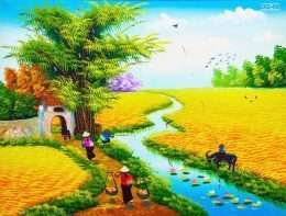 Tranh Vẽ Người Gánh Lúa