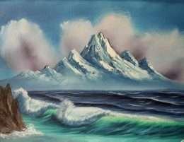 Tranh sơn dầu phong cảnh mặt biển sóng vỗ rì rào