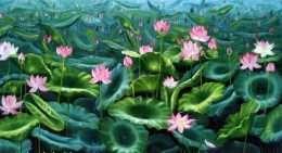 Tranh vướn hoa sen nở rộ