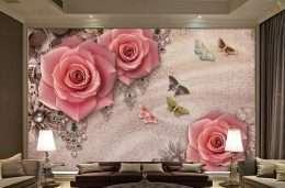 Tranh dan tuong hoa la Hoa hong va buom 5-16006
