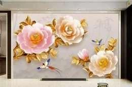 Tranh dan tuong hoa la hoa cuc hong la vang 5-16002