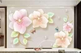 Tranh dan tuong hoa la hoa mau hong nhe tren nen trang 5-16012