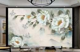 Tranh dan tuong hoa la hoa mau trang nhuy vang 5-16013