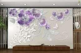 Tranh dan tuong hoa la hoa tim va cac hoa van nghe thuat 5-16017