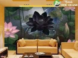 Tranh dan tuong kieu tranh ve hoa sen mau den 5-14011