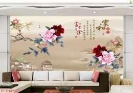 Tranh dan tuong phong thuy buc hoa hoa mai no ro 5-13001