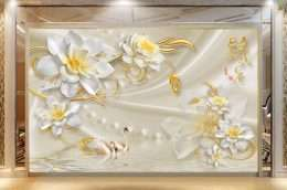 Tranh in 3D Hoa mai trang nhuy vang 5-1005
