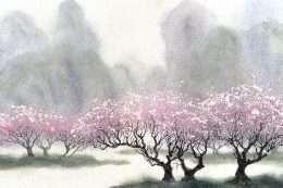 Tranh in hoa nở vào mùa đông 4-8041
